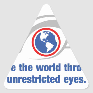 I See The World Through Unrestricted Eyes Triangle Sticker