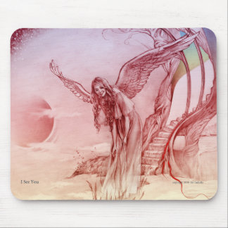 I see You Mouse pad with angel image