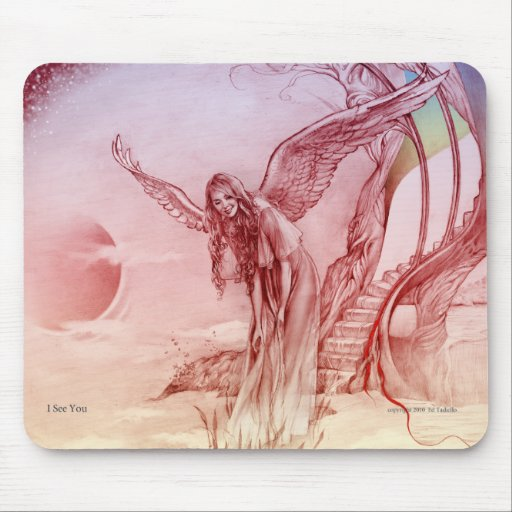 """""""I see You""""  Mouse pad with angel image"""