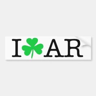 I Shamrock (Love Heart) Arkansas AR Bumper Sticker