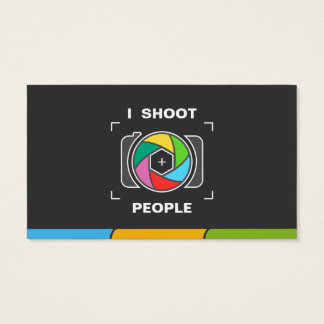 I Shoot People - Colorful Camera Shutter Business Card