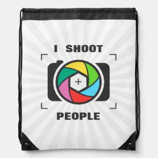 I Shoot People - Colorful Camera Shutter Fun Drawstring Backpacks