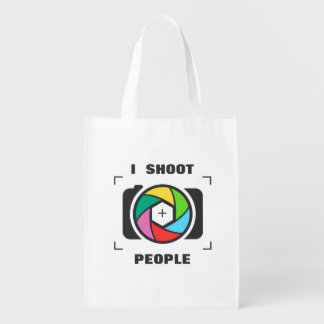 I Shoot People - Colorful Camera Shutter Fun Grocery Bags