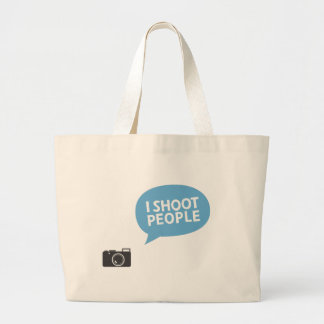 I shoot people large tote bag