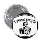 I Shoot People Retro Photographer's Camera B&W Pinback Buttons