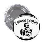 I Shoot People Retro Photographer's Camera B&W Pinback Buttons