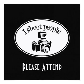 I Shoot People Retro Photographer's Camera B&W Card
