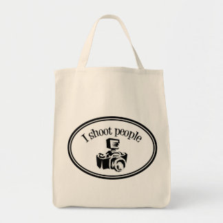 I Shoot People Retro Photographer's Camera B&W Grocery Tote Bag