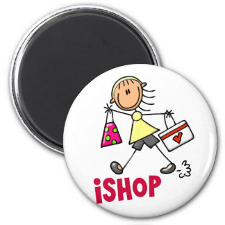 I SHOP Stick Figure T-Shirts & Gifts 6 Cm Round Magnet