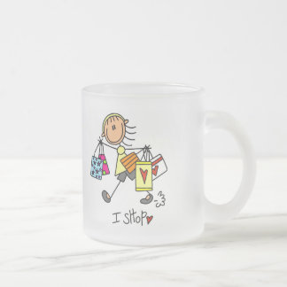 I Shop Tshirts and Gifts Frosted Glass Coffee Mug