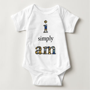 I simply Am on front, radiant heart on back Baby Bodysuit