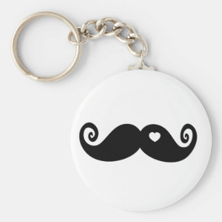 I simply love Moustache Basic Round Button Key Ring