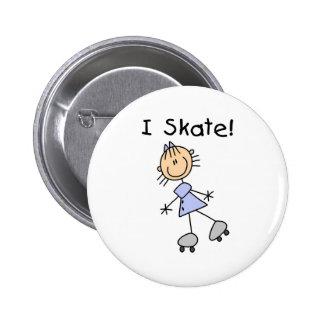 I Skate - Girl Roller Skater 6 Cm Round Badge