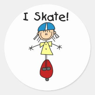 I Skate Skateboarding Girl Classic Round Sticker