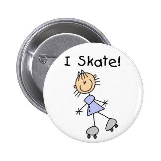 I Skate Stick Figure Button