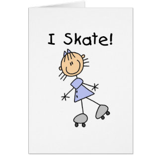 I Skate Stick Girl Card