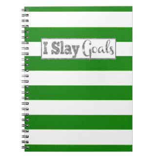 I Slay Goals Notebook Silver Glitter
