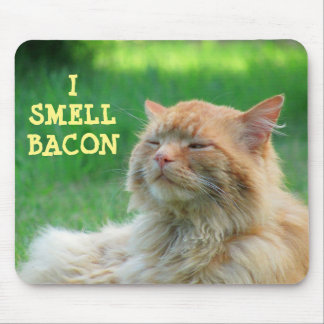 I Smell Bacon Big Orange Cat Mouse Pad