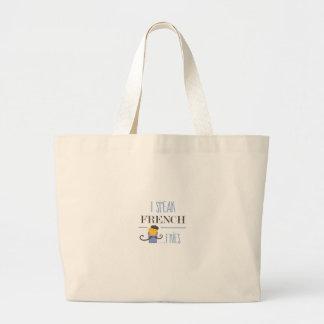 I Speak French... Fries Large Tote Bag