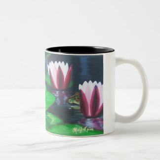 I splashes! (Frogs and water lilies) Two-Tone Coffee Mug