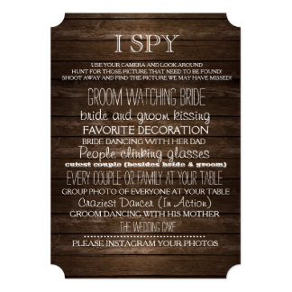 I Spy Wedding Game Wood Rustic Photography Card