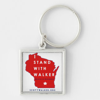 I Stand With Scott Walker Silver-Colored Square Key Ring