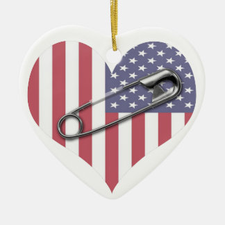 I Stand With You - Safety Pin Ceramic Heart Decoration