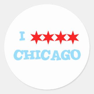 I STAR STAR STAR STAR CHICAGO CLASSIC ROUND STICKER