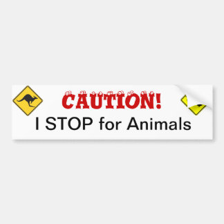 I STOP for Animals Bumper Sticker