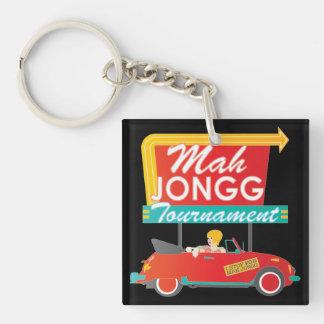 I Stop for Mah Jongg Retro Sign Single-Sided Square Acrylic Key Ring