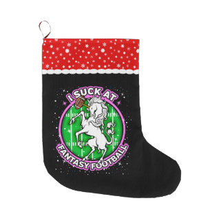 I Suck At Fantasy Football Unicorn Large Christmas Stocking