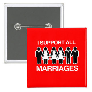I SUPPORT ALL MARRIAGES EQUALLY -.png 15 Cm Square Badge