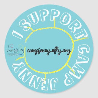 I Support CJ Circle Turquoise Classic Round Sticker