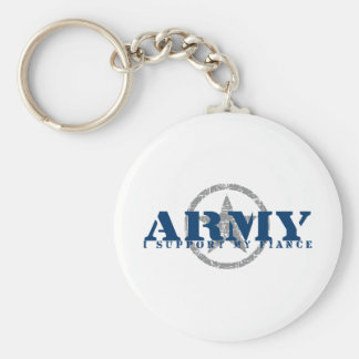 I Support Fiance - ARMY Basic Round Button Key Ring