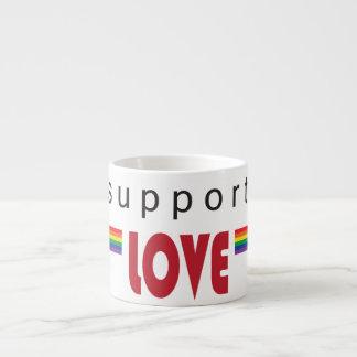 I support love rainbow white 6 oz ceramic espresso cup