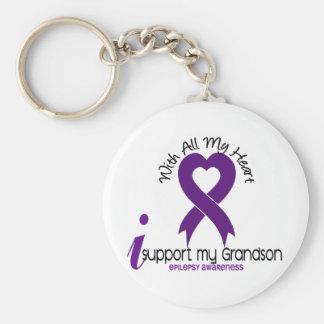 I Support My Grandson Epilepsy Keychains