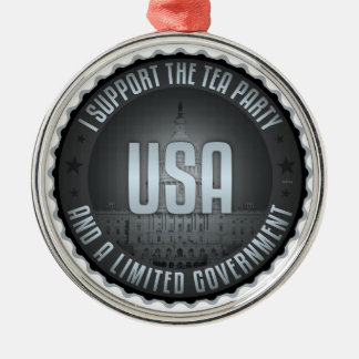 I Support The Tea Party Silver-Colored Round Decoration