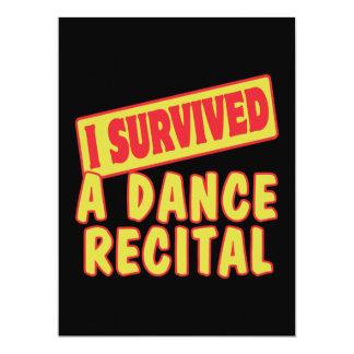 I SURVIVED A DANCE RECITAL 17 CM X 22 CM INVITATION CARD