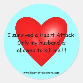 I survived a Heart Attack Round Sticker