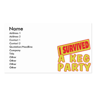 I SURVIVED A KEG PARTY BUSINESS CARD TEMPLATE