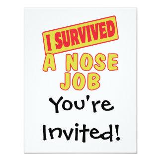 I SURVIVED A NOSE JOB 11 CM X 14 CM INVITATION CARD