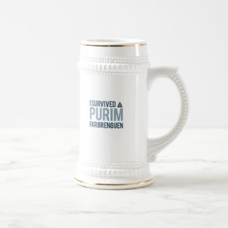 I survived a purim farbrengen beer stein