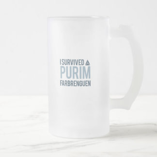 I survived a purim farbrengen frosted glass beer mug
