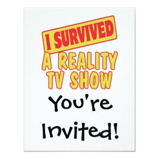 "I SURVIVED A REALITY TV SHOW 4.25"" X 5.5"" INVITATION CARD"
