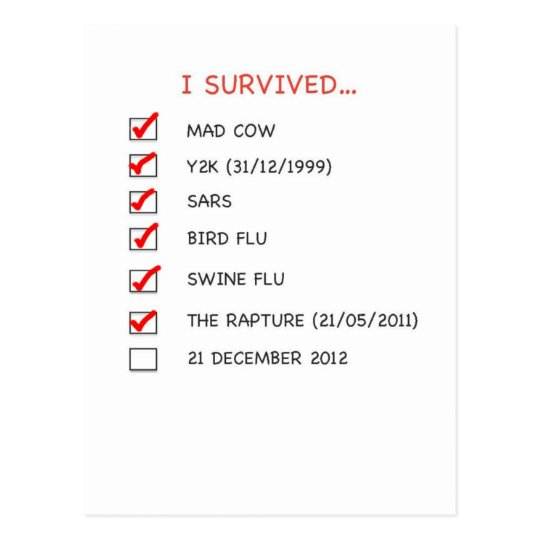 I Survived Checklist Postcard