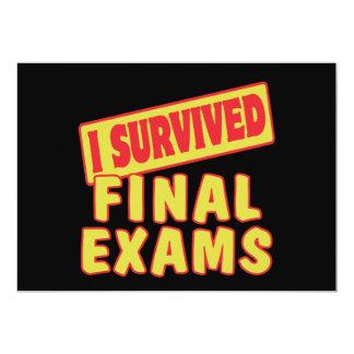 I SURVIVED FINAL EXAMS 13 CM X 18 CM INVITATION CARD