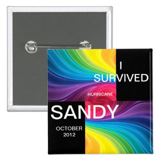 I SURVIVED HURRICANE SANDY 2012 15 CM SQUARE BADGE