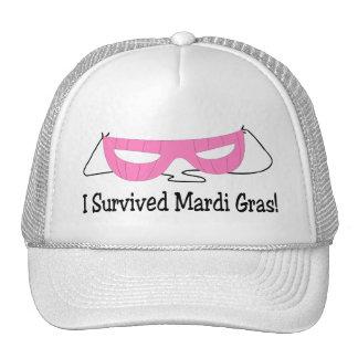 I Survived Mardi Gras Pink Mask Trucker Hat