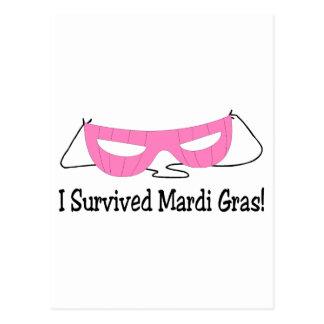 I Survived Mardi Gras Pink Mask Postcard