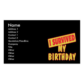 I SURVIVED MY BIRTHDAY BUSINESS CARD TEMPLATE